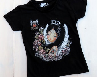 T-shirt girl SCARLET Roses & Tatoo sleeves black
