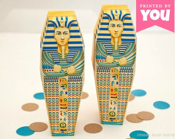 Egyptian Sarcophagus Favor Box : Print at Home Full-Color Template | Pharaoh Mummy Party | DIY Printable | Digital File - Instant Download