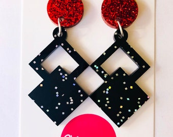 Drop Earrings , Acrylic Statement Earrings , black earrings , red earrings , acrylic earrings , party earrings , dangle earrings , glitter
