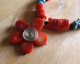 Artisan Tibetan Tribal Style Coral Heishi Turquoise Chip Floral Necklace  #182031