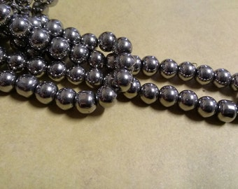 Silver Beads 8mm Glass Electroplated Silver Beads 44 pieces Bulk Beads Wholesale Beads 1 Full Strand