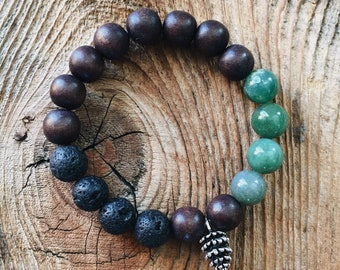 Gemstone Bracelet - Moss Agate + Lava Stone - Lava Lily Designs/Needle & Pine Collaboration