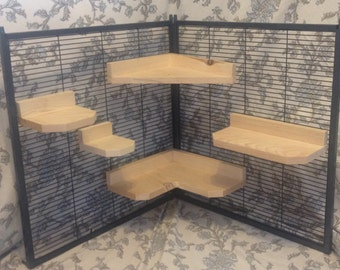 Kiln Dried Pine Chinchilla 5 Piece Ledge set with Poop Guards + Mounting Hardware