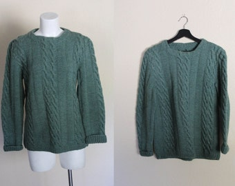 Vintage Cable Knit Sweater / Vintage Hand Knit Sweater / Turquoise Green Vintage Hand Cable Knit Sweater / Vintage Sweater / Size S / M