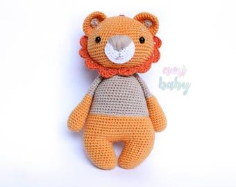 lion plush, amigurumi lion, stuffed animal, stuffed lion, lion stuffed animal, leo the lion, gift for baby, cute toy, stuffed plushies,
