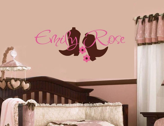 Like this item? & Cowboy Boots Wall Decal Personalized Name Girlu0027s Name