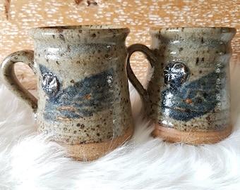 Studio pottery vintage mugs, set of 2 mugs, coffee mugs, pottery coffee mug