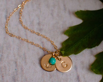 Personalized Anchor Necklace with Initial and Turquoise or CHOOSE GEMSTONE - Personalized Gold Jewelry
