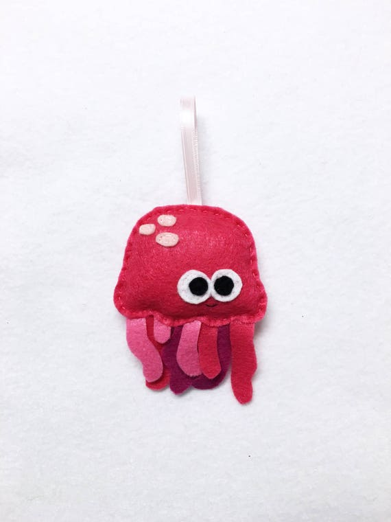 Ornament, Jelly Fish Ornament, Christmas Ornament, Patricia the Pink Jellyfish, Ocean Animal, Felt Animal