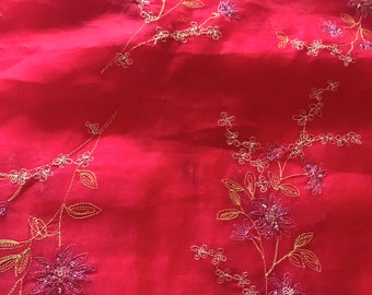 Stunning Embroidered Sheer Silk Fabric---2 1/2 Yards and 42 Inches Wide