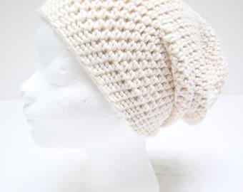 Handmade cotton, crocheted beanie