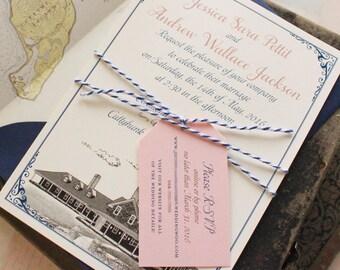 Custom Illustration Flat Card Wedding Invitation (The Avalon, Cuttyhunk Island) - Design Fee