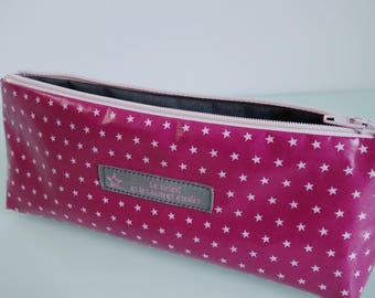 Pink coated fabric clutch dark stars - free shipping *.