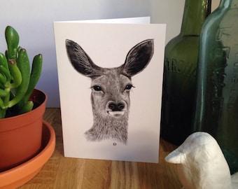 A6 Deer Greetings card