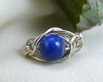 Lapis Lazuli Ring ~ Lapis Ring ~ Lapis Lazuli Wire Ring ~ Blue Bead Ring ~ Wire Wrapped Ring ~ Silver Wire Ring ~ Silver Bead Ring ~ 6 1/4
