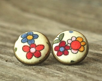 Flower Stud Earrings, Flowers For Girls, Floral Earring Studs,  Country Cottage Chic Fabric Button Jewelry, Shabby Elegance Antique Posts