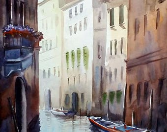 Morning Canal - Original Watercolor Painting on Paper