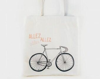Hand Made Canvas Tote Bag — Allez Allez Bicycle Illustration