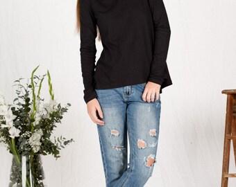 Organic cotton long sleeve black top