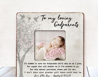 Baby Girl GODPARENTS Gift Baptism Gift for Godparents Christening Gift Godparents Frame Christmas Gift Godparents gift from Goddaughter gift