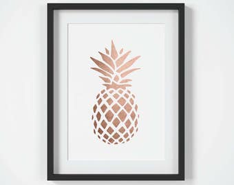 Printable Wall Art, Pineapple Print, Copper Home Decor, Pineapple Art, Tropical Print, Instant Download, Copper Print, Home Decor, Printable
