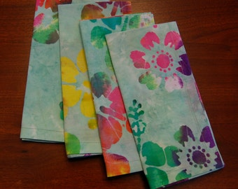 Four Handmade Batik Cotton Napkins (Set of 4)