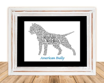 American Bully, American Bully art, Gift under 30, Pet Gift, Personalize Pet Art,Custom Pet Art, Pet Memorial,Pet Loss Gift