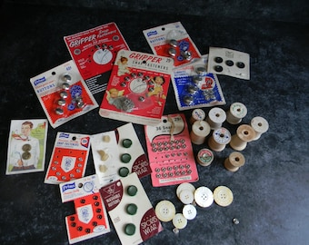 Vintage sewing supplies buttons wooden spools snaps needlecraft notions