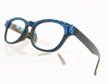 Butterfly Reading Glasses, Wayfarer Eyeglasses +2.25, Blue Butterfly, light weight