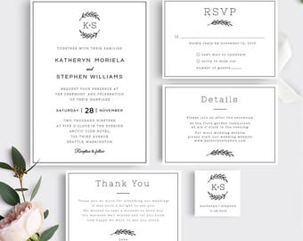 Rustic Wedding Invitation Template Download, Printable Editable Invitation Suite. Wedding Monogram, PDF Invitation Template Instant Download