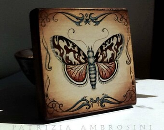 "4.5x4.5"" .Handpainted art block on wood - "" Moth.6.""  - ORIGINAL Painting collectible romantic victorian"