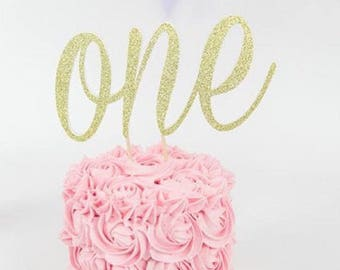 First Birthday Age One Cake Topper Party Decoration.One year Old. 1st Birthday Cake Decoration.One Glitter Topper.1 st Birthday Cake Banner.