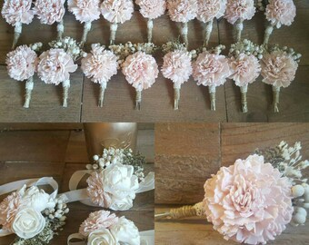 Blush Boutonniere or Corsages with Sola Flowers and Berries