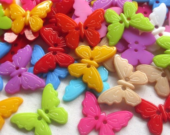 15 x 22mm acrylic butterfly 2 hole buttons