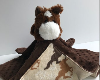 Ultra Plush and Cuddly Horse Lovey Blanket