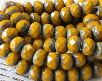 6x9mm Rondelle Beads - Czech Glass Beads - Jewelry Making Supplies - Opaque Mustard Picasso Edges (10 or 25 bead strand)