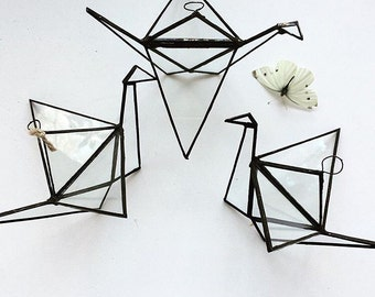 Glass Origami Crane - Handmade Geometric Bird - Home decor - Geometric Crane - geometric Terrarium