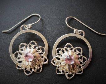 Sterling Pink Sapphire Earrings / Sterling Filigree Earrings / Artisan Earrings / Statement Earring / OOAK Earrings
