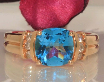 14k Yellow gold Natural Cushion Blue Zircon & Diamond solitaire ring band 1.90ct