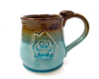 Paw Print Coffee Mug, Dog House, Coffee Mug, Dog Theme, 14oz