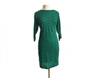 Vintage 80s green animal print dress/ emerald green long sleeve knit dress/  leopard print/ Stash