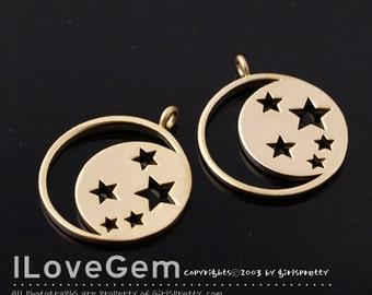 NP-1593 Matt Gold plated, Moon & Star pendant, 2pcs