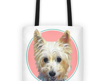 Custom Pet Portrait // Gifts for pet owners // Pet memorial // Weather resistant tote bag // Gifts under 65.