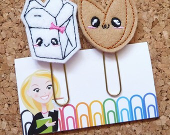 Chinese Take Out Planner Clip, Felt Paper Clip, Refrigerator Magnet, Cute Brooch Pin, Planner Accessories, Ribbon Bookmark, 728 729