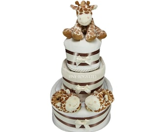 3 Tier Giraffe Nappy Cake with Cute Giraffe Soft Toy and Bootees