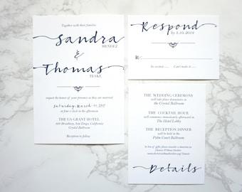 Modern Calligraphy Wedding Invitation Suite