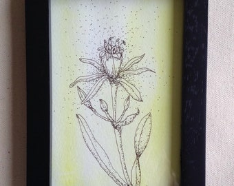 Small Flower Drawing - 6 x 4 - Flower on Yellow