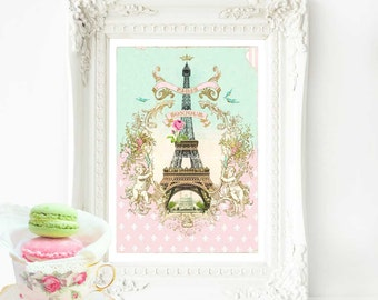 Eiffel Tower French art print, Bonjour Paris in mint green and pink, A4 giclee