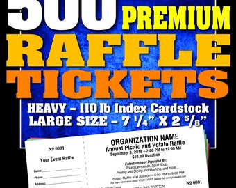 500 Premium Raffle Tickets, Customised, Perforated and Numbered