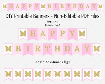 Happy Birthday Banner - Pink & Gold Glitter - Girl - Butterfly - Birthday Party - PRINTABLE - INSTANT DOWNLOAD